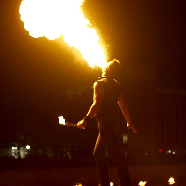 Fire breathing at WaterFire #waterfiresharon