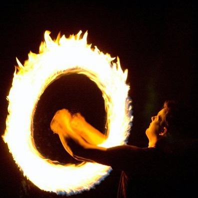 A burning ring of Fire! #buzzsaw #fireperformer
